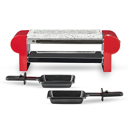 H.Koenig Appareil à raclette Duo Multifonction 2 personnes RP2, Professionnel avec Pierre à cuire Granit grill, cuisine Fromage Fondue, 2 poêlons antiadhésifs, Plaque amovible Facile à Nettoyer, 350W