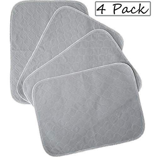 Kluein Pet Training Pads for Dogs | 4-Pack Grey 18x24in | Non-Slip Absorbent | Washable Pee Pads for Dogs Cat Rabbit Guinea Pig Small Pets, Travel Carrier, Dog Crate Mat, Food Mat Pads Training Trays