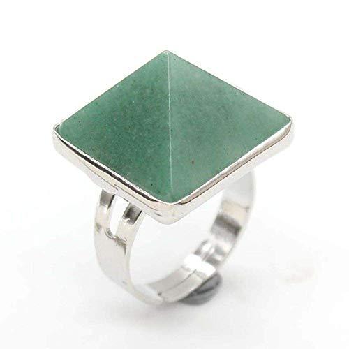 Gflyme - Anillo abierto para mujer, novedoso y elegante, pirámide, anillo de piedra de aventurina verde, joyería de plata ajustable, regalos para bodas, graduación, cumpleaños, promesa de cumplea