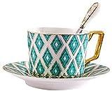 WQF Taza y Plato de té, Juego de té de la Tarde de diseño Moderno Europeo Creativo Juego de té de la Tarde de Phnom Penh Bone China en inglés Taza de té y platillo Turco Simple de Alta Cali