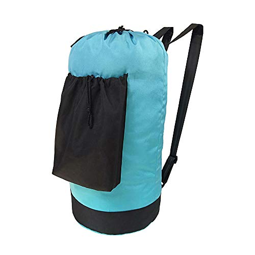 Large Laundry Bag Backpack with Adjustable Shoulder Straps and Pocket Durable Oxford Fabric Dirty Clothes Backpack with Drawstring Closure for College DormTravelcampingLaundromatApartment blue