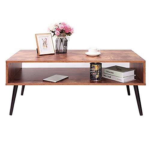 IWELL 43.2' Mid-Century Modern Coffee Table with Storage Shelf for Living Room, Boho Cocktail Table,...