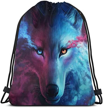 MSGUIDE Galaxy Wolf Gym Sack Bag Drawstring Backpack Polyester Sport Bag for Men Women product image
