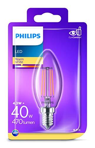 Philips 8718696587355 A++, LED-Leuchtmittel, Glas, 4 W, E14, klar, 3.5 x 3.5 x 9.7 cm