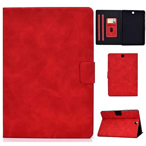 Caja Protectora de la Tableta para Samsung Galaxy Tab A 9.7 T550 / T555C Cola de Cuero de Vaca Funda de Cuero de Flip Horizontal con Soporte y Ranuras para Tarjetas y función de suspensión/despertad