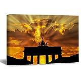 Lienzo enmarcado de madera para pared de Brandenburger Tor Dusk Dawn Twilight Sunset Berlin color18 obras de arte de pared para sala de estar o dormitorio, Lona y Madera, multicolor, 20x30cm(8x12Inch)