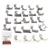 Juego de prensatelas, 25 piezas de prensatelas planas universales, piezas de máquinas de coser industriales