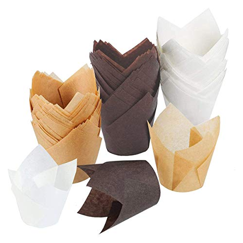 Tulip Cupcake Liners Baking Cups Muffin Liner Grease-Proof Paper Cupcake Wrappers for Wedding, Birthday Party (150 pcs, Brown, Natural Color, White)