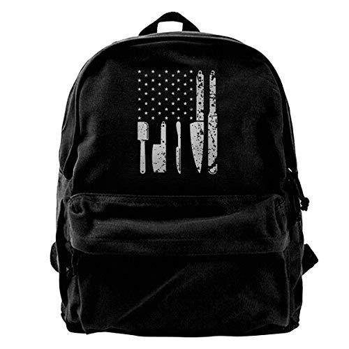 The Best American Chef Flag Canvas Backpack School Laptop Bag for Women & Men Travel Bookbag