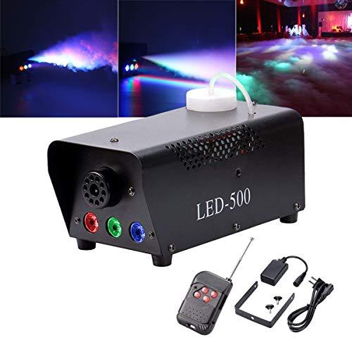 U`King Nebelmaschine LED 500W mit Effekt RGB Farbe per Fernbedienung und DMX Groß für Hochzeit DJ Disco Party Bühne Lichter
