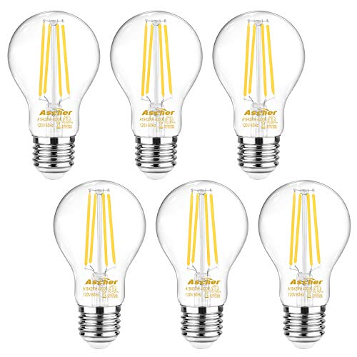 Ascher 60 Watt Equivalent, E26 LED Filament Light Bulbs, Daylight White 4000K, Non-Dimmable, Classic Clear Glass, A19 LED Light Bulb/6-Pack