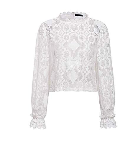 ZIYYOOHY Damen Spitze Weiß Elegant Bluse Sommer Langarm Stehkragen Transparent Top Shirts Tunika Hemd Mit Trompetenärmel (40, 1 Weiß)