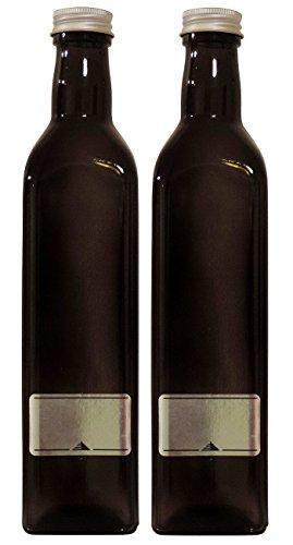 mikken 2 x Ölflasche 500ml / braune Schraubverschluss zum selbst abfüllen, inkl. Etiketten zum Beschriften Glasflasche, Glas, 5.8 x 5.8 x 26 cm, 2-Einheiten