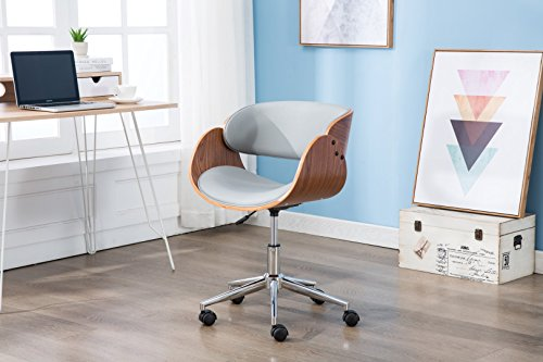 Porthos Home Lydia, Stylish Home Desk, Height Adjustable, 360 Swivel, with Caster Wheels Unique Luxury Designer Office Chairs Size 21 x 32, Gray