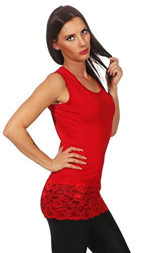 Mellice Damen Longshirt Long Top mit Spitze - FX040, Gr.- 40-42 EU/ L-XL, Rot