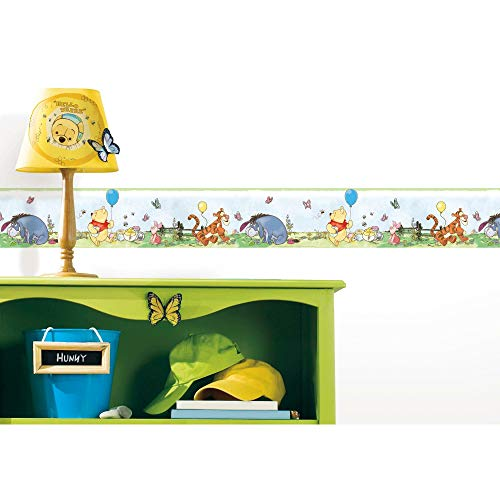 RoomMates RMK4410BD Disney Winnie The Pooh Toddler Peel and Stick Wallpaper Border, blue, yellow, red, green