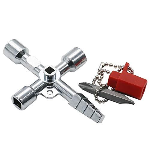 LIGH Universal-4 Wege Dreieck Wrench Multifunktionstaste Plumber Key Dreieck Schlüssel für Gas Stromzähler Schränke Aufzug Key - Silber