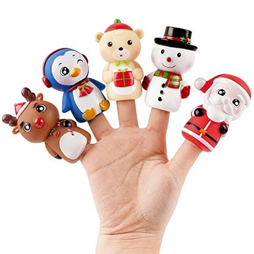 FLOFIA 5pcs Muñecas de Dedo Navidad, Marionetas Dedo de Navidad, Títeres de Mano Cuentos para Niños Bebé, Marioneta de Juguete Papá Noel, Ciervo, Muñeco de Nieve, Oso, Pingüino, 7cm