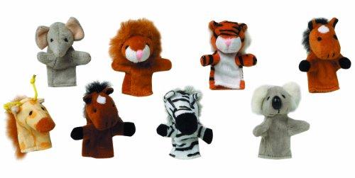 TOYS PURES - 15.125 - Set de 8 Marionnettes de doigts - Aléatoire - Zebre, Lion, Elphant, Girafe, Koala, Tigre, 2 cheveaux