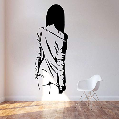 Modern Sexy Naked Back Girl Wall Stickers for Living Room for Girl Bedroom Wall Decals Removable Self Adhesive Black Wallpaper