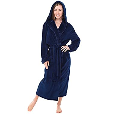 Alexander Del Rossa Womens Fleece Robe, Long Hooded Bathrobe, 1 X 2X Navy Blue with Jacquard Accents (A0116NBJ2X)