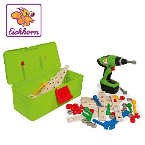 Eichhorn Constructor Werkzeugbox, inkl. kompakt Schrauber, Erweiterungsteile, 70 teilig, FSC 100 Prozent zertifiziertes Buchenholz, Hergestellt in Deutschland, für Kinder ab 3 Jahren