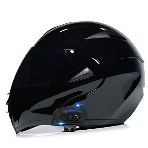 FANGJIA-Helmet Motorrad-Bluetooth-Helm Aufklappbarer Motorradhelm mit Doppelspiegel klappbarer Integralhelm für Erwachsene Männer Women-D.O.T Approved