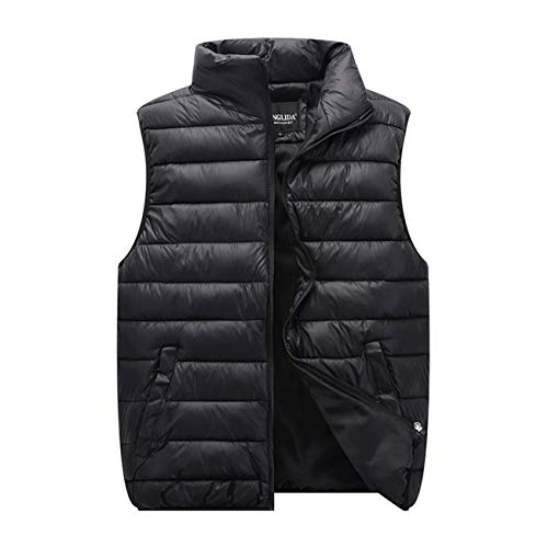 Men's Lovers Light Weight Down Vest Jacket Waistcoat Stand Collar Padded Puffer Water-Resistant Coat (Black, XL)