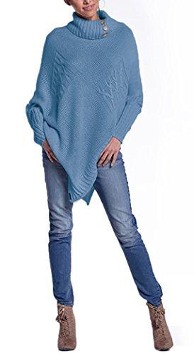 Mikos* Damen Eleganter Frühling Poncho Strickponcho mit Stehkragen-Rollkragen und Knöpfen Umhang Pullover Pulli Überwurf Einheitsgröße 36 38 40 S M L in vielen Farben erhältlich (597) (Jeans)