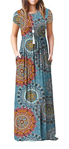 VIISHOW Women's Short Sleeve Floral Print Scoop Neck Loose Plain Maxi Dresses Casual Long Dresses with Pockets(Floral Mix Blue M)