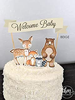 Woodland Cake Topper, Welcome Babby cake banner, woodland animals cake topper