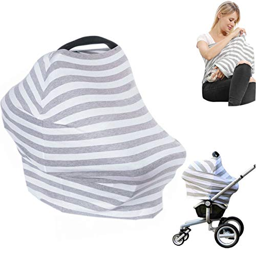 Car Seat Nursing Breastfeeding Cover, Thick Cozy Carseat Canopy Cover, Stroller Cover for Infant Babies, Extremely Stretchy, Amazing Soft, Convertible Multi Use, Nurse Gifts - Gray and White Stripe