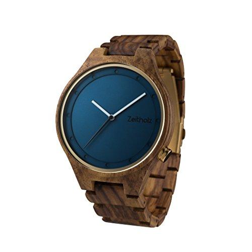 Zeitholz Herren-Holzuhr Analog mit Rosenholz-Armband - Modell Stolpen - Blau - Naturprodukt - Hypoallergen - Nachhaltig Handgefertigt Armbanduhren