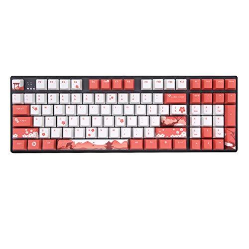 BAOD PBT keycaps, 104 teclas, perfil OEM Doubleshot OEM, retroiluminación PBT, teclas de teclado, juego para MX Switches mecánicos, gaming, flores de cerezo