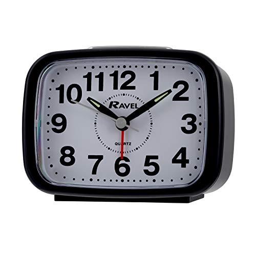 Ravel RC008 Uhr mit Wecker-Funktion, Quarz, lautloser Sweep-Sekundenzeiger, Reisewecker Schwarz