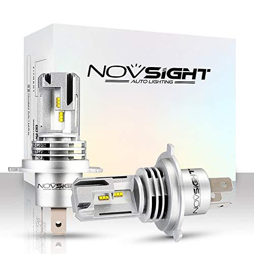NOVSIGHT Lampadine H4 LED 10000LM, Kit Lampadine Auto Luci LED Auto Sostituzione per Lampadine Alogene Xeno Anabbaglianti Impermeabile Certificato DOT 6000K Bianco 2 Pack