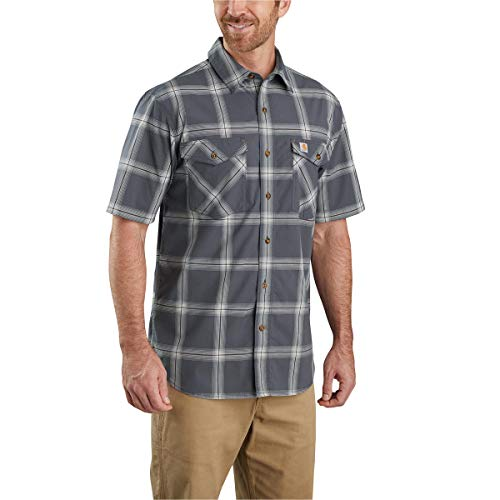 Carhartt Men's Relaxed Fit Short Sleeve Plaid Shirt, Shadow, Large