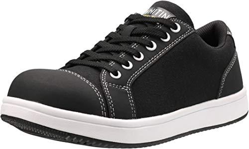 WHITIN Slip Resistant Shoes for Men Non Slip Size 9.5 Zapatos de Trabajo para Hombres Canvas Indestructible Working Work Steeltoe Safe Sefty Safetoe Composite Steel Toe Sneakers Black