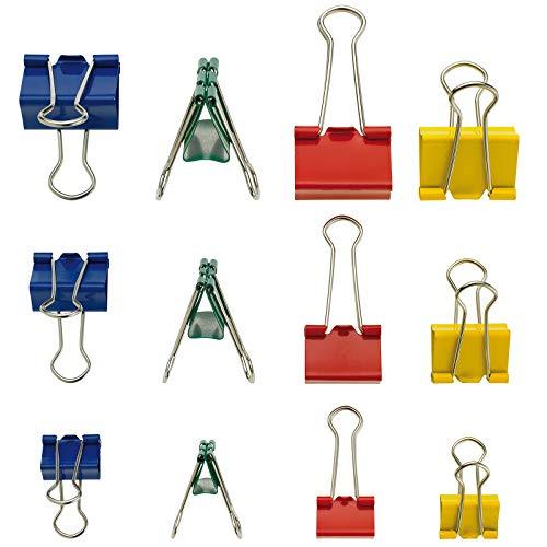 WESTCOTT E-10721 00 - Set di 72 mollette colorate, in 3 misure (19, 25, 32 mm), in 4 colori (rosso, verde, giallo, blu), 6 scatole da 12 pezzi