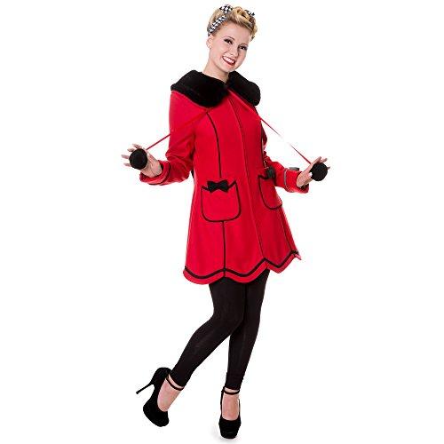 Banned Damen Retro Mantel Wollmantel mit Schleifen und Kunstfellkragen - Bows Coat Rot (XS)