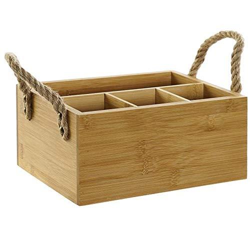 MGE - Soporte y Organizadores para Utensilios - Soporte para Cubiertos - Portacubiertos - 4 Compartimentos - Bambú - 23,5x16x11 cm