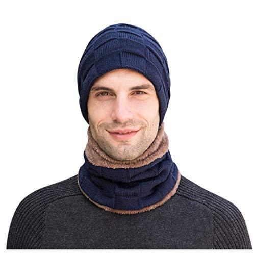 MIRRAY Herren Winter Casual Hut Mütze Kragen Set sowie Samt Dicke Strickmütze und Schalldämpfer