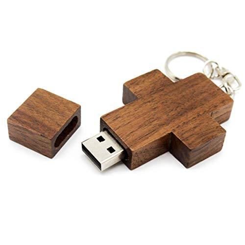 Kongqiabona-UK - Chiavetta USB 2.0 a forma di croce in legno di noce, chiavetta USB 2.0 (l'effettivo è 8G).
