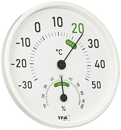 TFA Dostmann Analoges Thermo-Hygrometer, 45.2045.02, für innen und außen, mit farbigen Komfortzonen, weiß, L 131 x B 19 (58) x H 131 mm