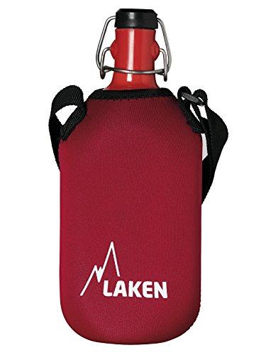 Laken 8412544026880 Cantimplora Octogonal de Aluminio 1L con Mosquetón y Funda de Neopreno Roja, Adultos Unisex, Rojo, 1 L