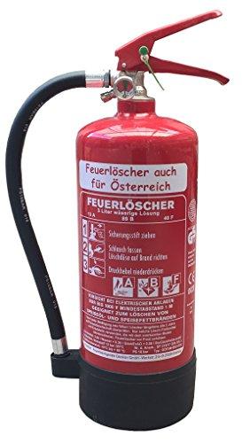 NEU 3 l Fettbrand Schaum Feuerlöscher auch für Österreich DIN EN3 GS + Wandhalter + Manometer + Standfuß 13 A, 89 B, 40F = 4LE