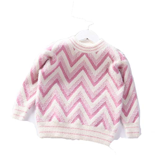 Winter Girls Sweater Baby Princess Pullover Mink Velvet Knit Kids Clothes Fashion O-Neck Wave Children Warm Coat Pink 5T
