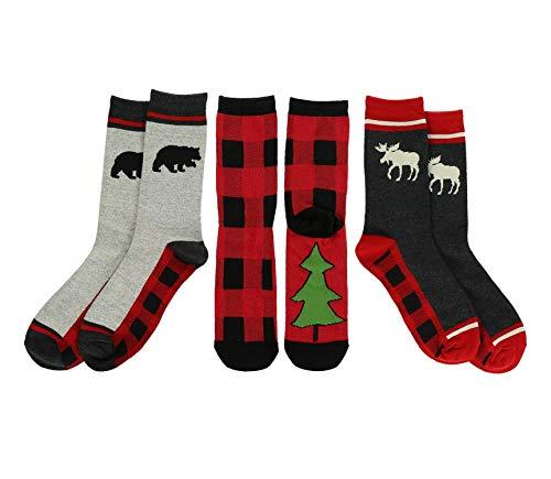 LazyOne Sock Bundle, Forest Animals, Women s Sizes 5.5–9.5, Men s Sizes 4.5–7.5, Plaid, Moose, Bear