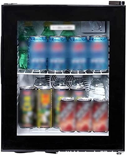 FREEZYMAN 30L Small Ice Bar, Home Retro Fashion Refrigerated Wine Cabinet, Transparent Glass Door, Independent Wine Cellar with Countertop (Color : Black, Size : 3838.548cm)
