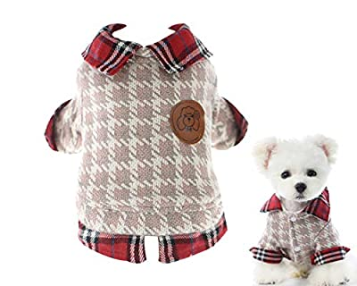 Tineer Winter Warm Small Dog Jacket Coats, Soft Fleece Pet Puppy Plaid Cotton Clothing for Small Dogs Cats, Cute Sweater Shirt for Chihuahua Yorkshire Terrier Poodles (XL Chest:48-50cm, Red)